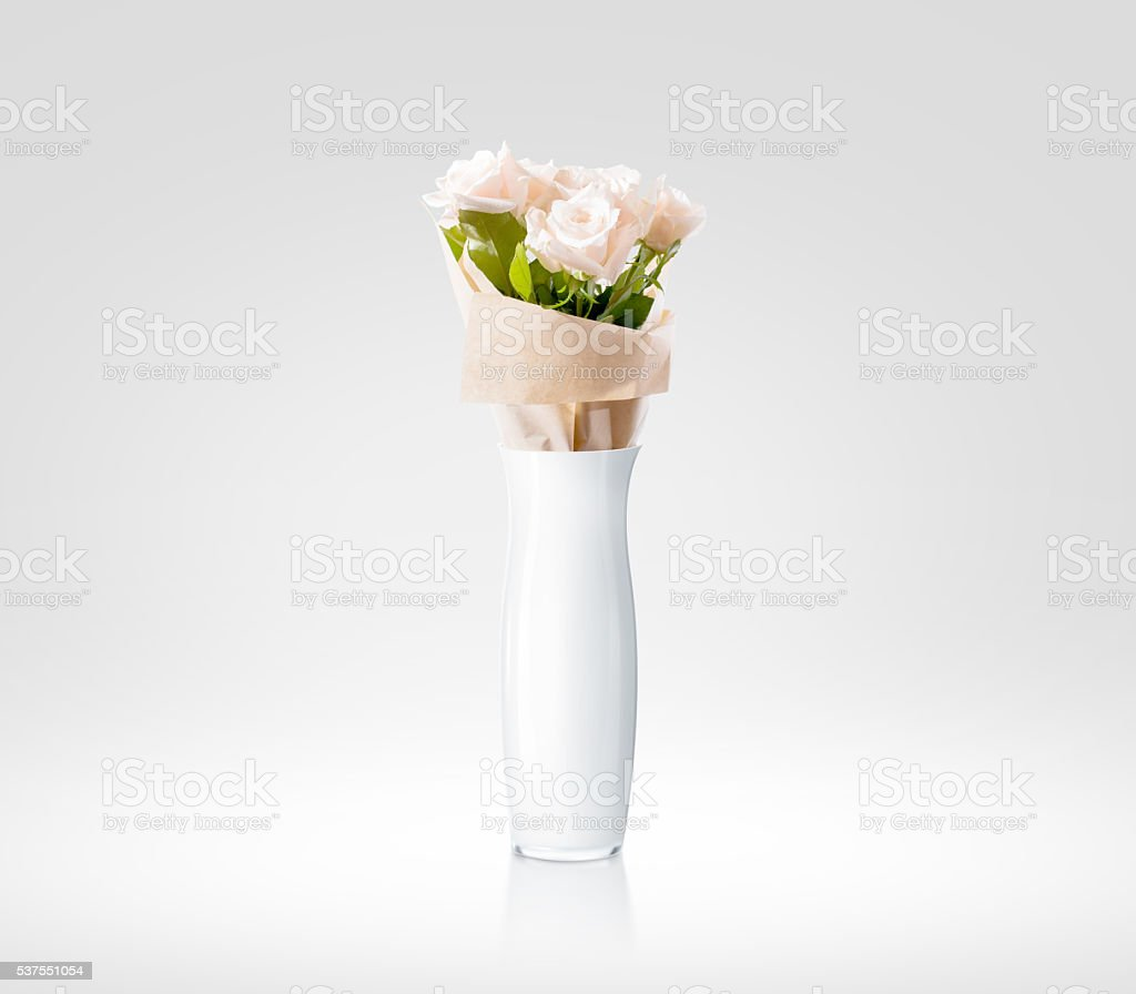Blank white vase with flowers bouquet design mockup, clipping path stock photo