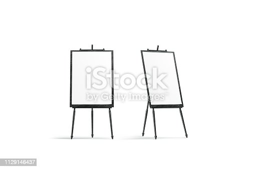 Blank white vertical canvas stand on black easel mockup, isolated, 3d rendering. Empty wood tripod with picture mock up, front and side view. Clear paper banner for exhibition template.