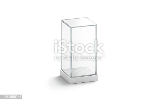 istock Blank white vertical glass showcase mock up, isolated 1132955245