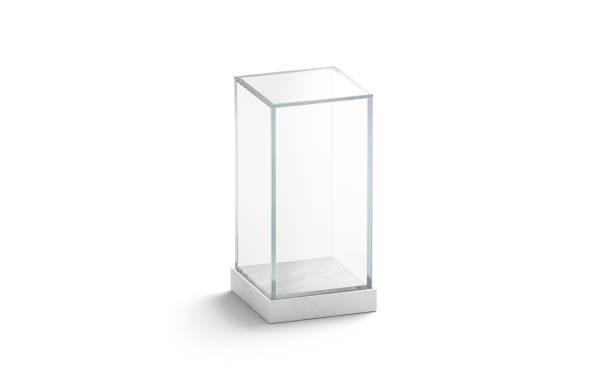 ブランク白垂直ガラスショーケースモックアップ、絶縁 - 透明 ストックフォトと画像