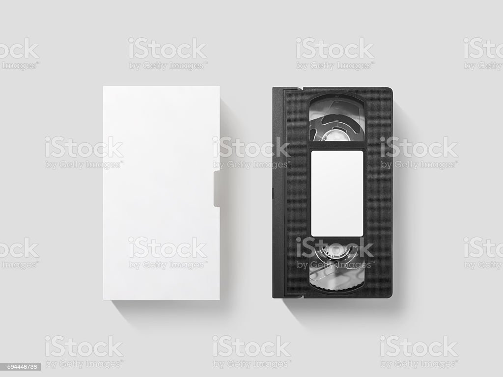 Blank white video cassette tape mockup, top view, clipping path stock photo