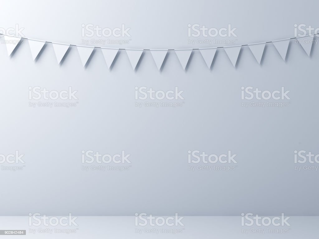Blank white wall background with white bunting flags . 3D render - fotografia de stock