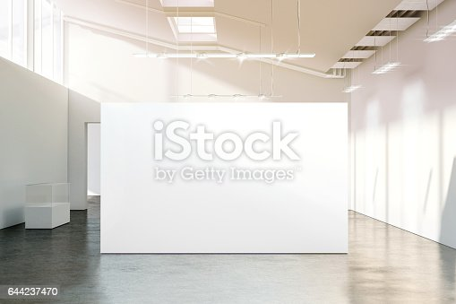 istock Blank white wall mockup in sunny modern empty museum 644237470