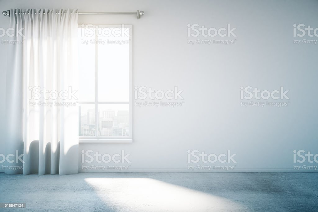 Blank white wall with window and concrete floor, mock up stock photo