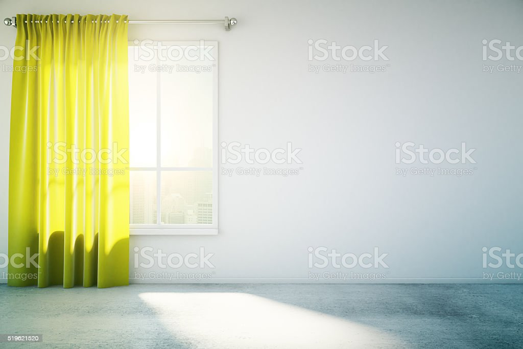 Blank white wall yellow curtain stock photo