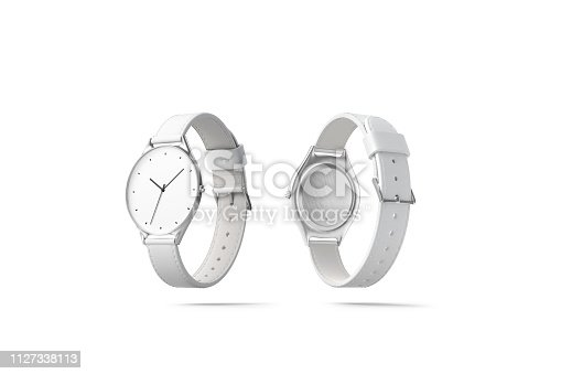 istock Blank white watch wristlet mockup, isolated, front and back side 1127338113