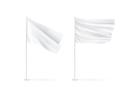 Blank white waving flags mockup, 3d rendnering. Clear rippled flagpole design mock up. Pole with banner on wind. Business branding cloth pennon. Clean pillar for logo presentation.