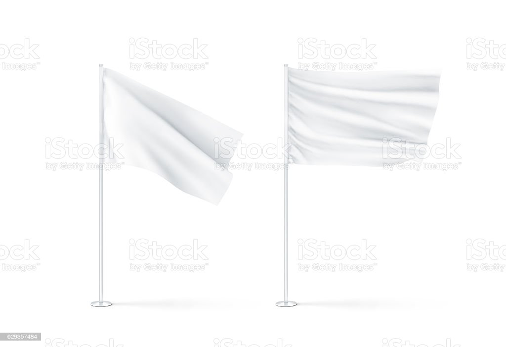 Blank white waving flags mockup stock photo