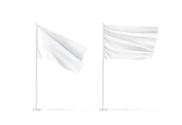 Blank white waving flags mockup Blank white waving flags mockup, 3d rendnering. Clear rippled flagpole design mock up. Pole with banner on wind. Business branding cloth pennon. Clean pillar for logo presentation. flagpole stock pictures, royalty-free photos & images