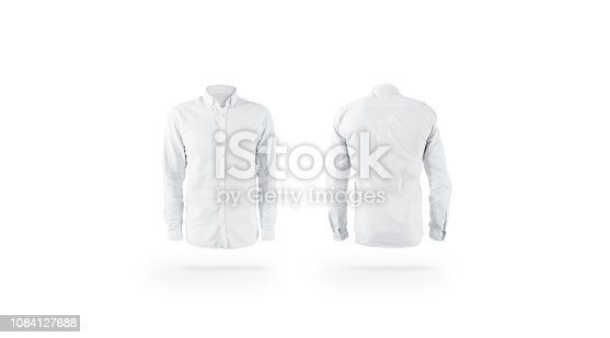 Blank white weared classic mens shirt mockup set, front back view, isolated. Empty male cotton apparel mock up. Clear blouse with collar and sleeve template for store branding.