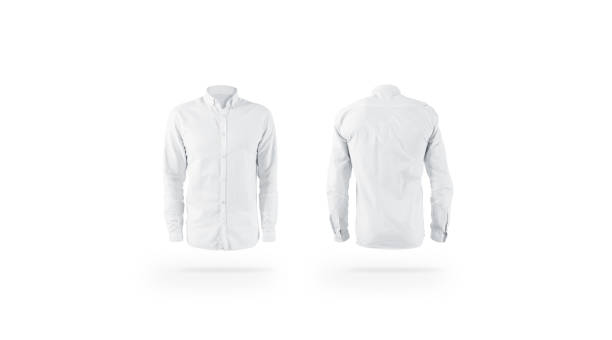 Blank white weared classic mens shirt mockup set, front back Blank white weared classic mens shirt mockup set, front back view, isolated. Empty male cotton apparel mock up. Clear blouse with collar and sleeve template for store branding. blouse stock pictures, royalty-free photos & images