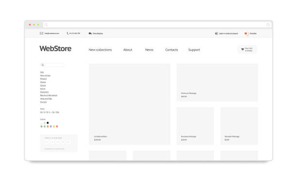 Blank white web store template mock up isolated stock photo