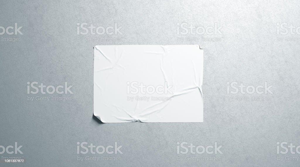 Maqueta de adhesivo cartel horizontal wheatpaste blanco en blanco en la pared con textura - Foto de stock de Agua libre de derechos