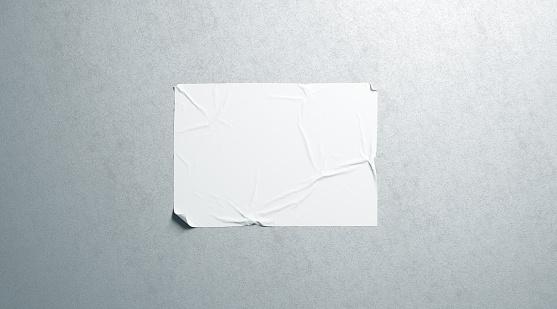 Maqueta De Adhesivo Cartel Horizontal Wheatpaste Blanco En Blanco En La Pared Con Textura Foto de stock y más banco de imágenes de Agua
