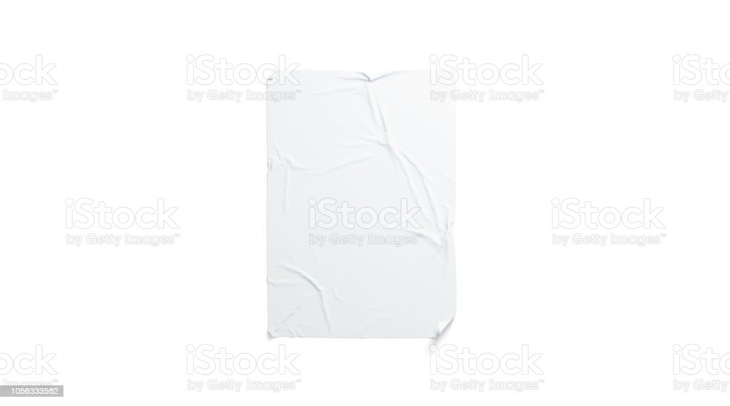 Blank white wheatpaste adhesive poster mockup, isolated foto stock royalty-free