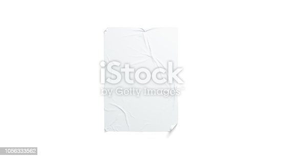 istock Blank white wheatpaste adhesive poster mockup, isolated 1056333562