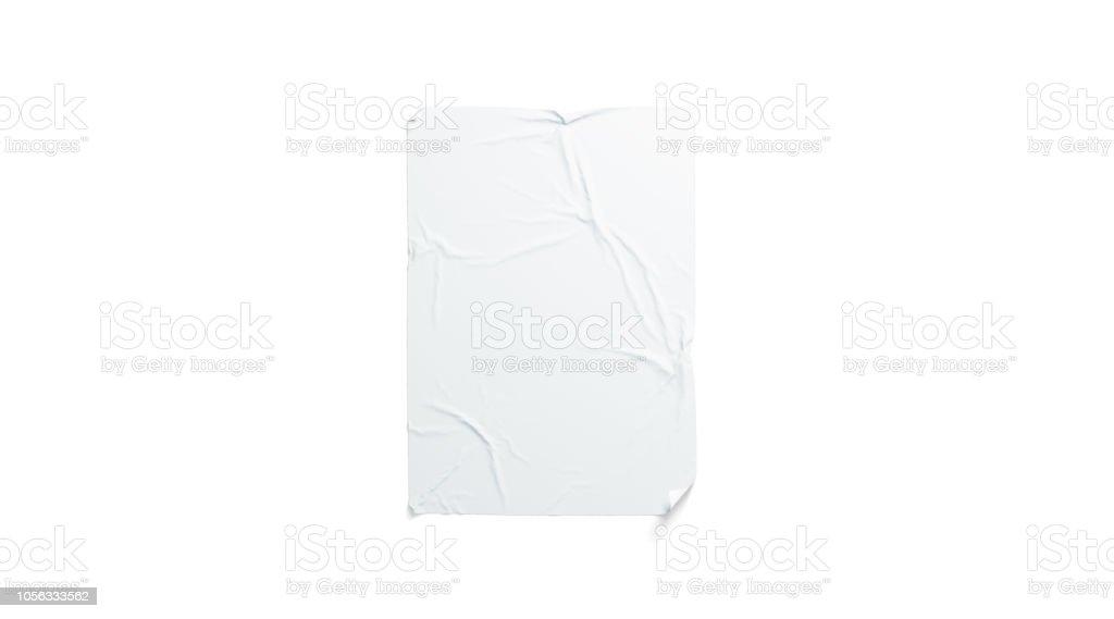 Blank white wheatpaste adhesive poster mockup, isolated stock photo