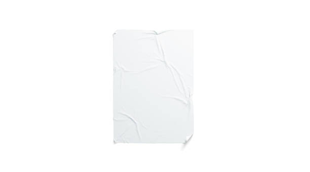Blank white wheatpaste adhesive poster mockup, isolated stock photo