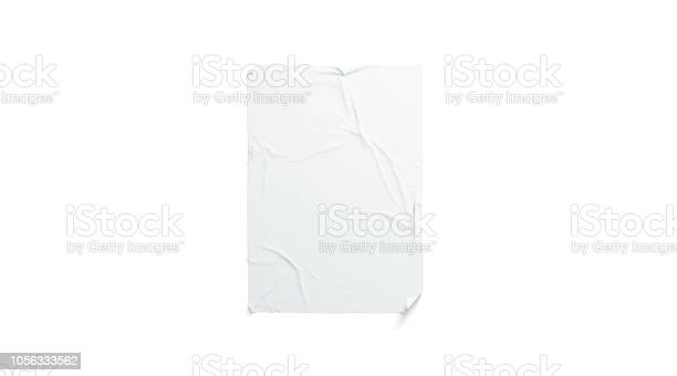 Blank white wheatpaste adhesive poster mockup, isolated, 3d rendering. Empty urban wallpaper mock up. Clear adhesive canvas for ad. Hanging banner for cinema affiche or advertising template.