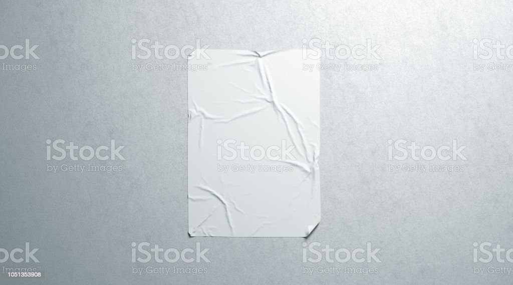 Blank white wheatpaste adhesive poster mockup on textured wall royalty-free stock photo