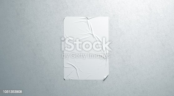 istock Blank white wheatpaste adhesive poster mockup on textured wall 1051353908