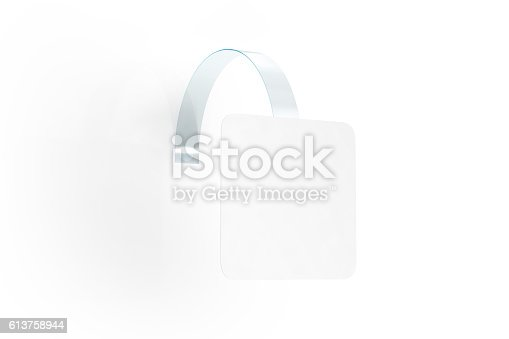 istock Blank white wobbler hang on wall mock up, clipping path 613758944