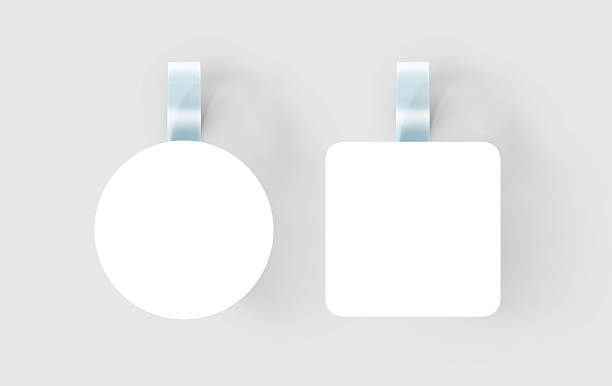 blank white wobbler hanging on wall mock up, clipping path - etiketten vorlagen stock-fotos und bilder