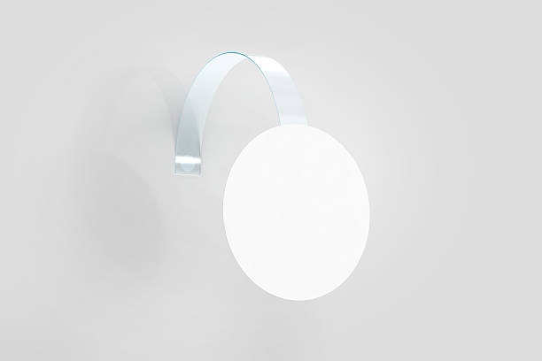 blank white wobbler hanging on wall mockup, clipping path - vinyl banner mockup stock photos and pictures