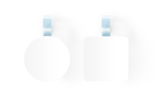 istock Blank white wobblers hanging on wall mockup, clipping path, 618965382