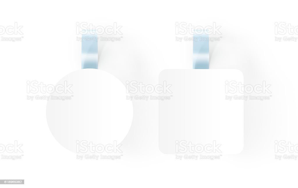 Blank white wobblers hanging on wall mockup, clipping path, stock photo