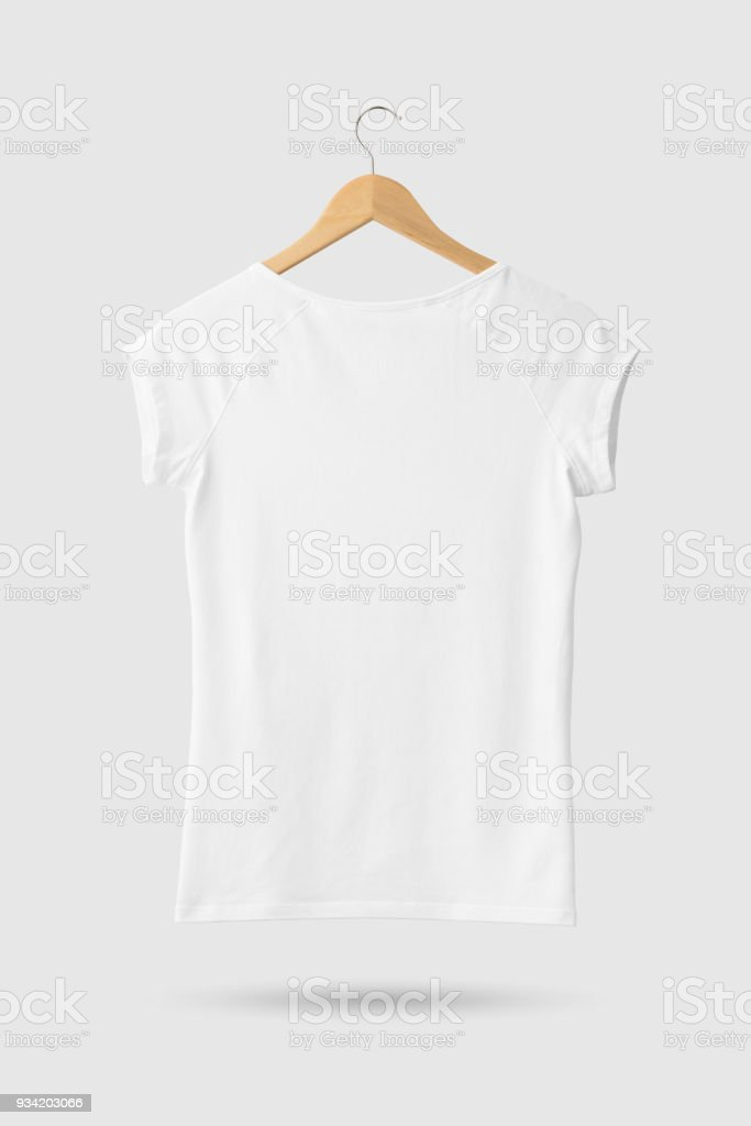 16e54b7e Blank White Women's T-Shirt Mock-up on wooden hanger, rear side view