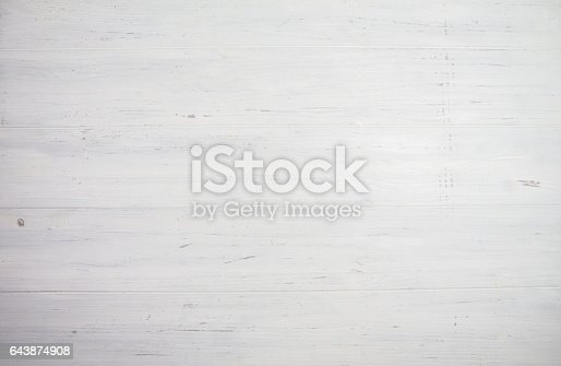 istock Blank white wooden background. Space for your text 643874908