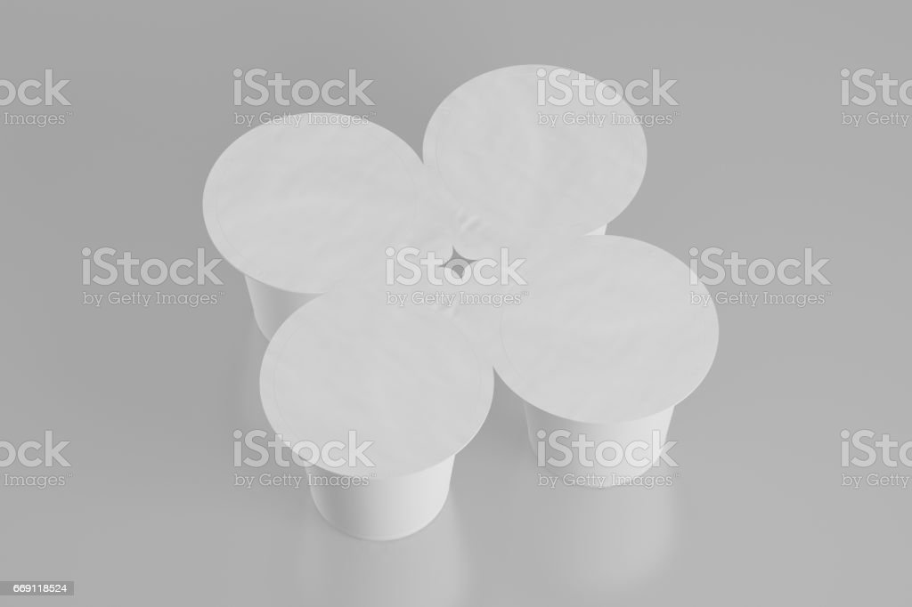 Blank pack of four yogurt packaging. Mockup dessert plastic container...
