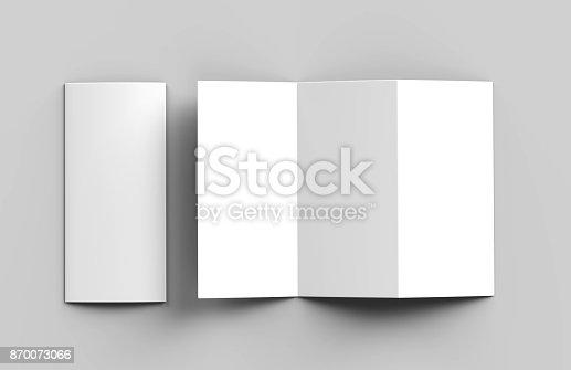 istock Blank white z fold tri fold brochure for mock up template design. 3d render illustration. 870073066