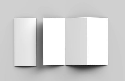 istock Blank white z fold tri fold brochure for mock up template design. 3d render illustration. 870073066