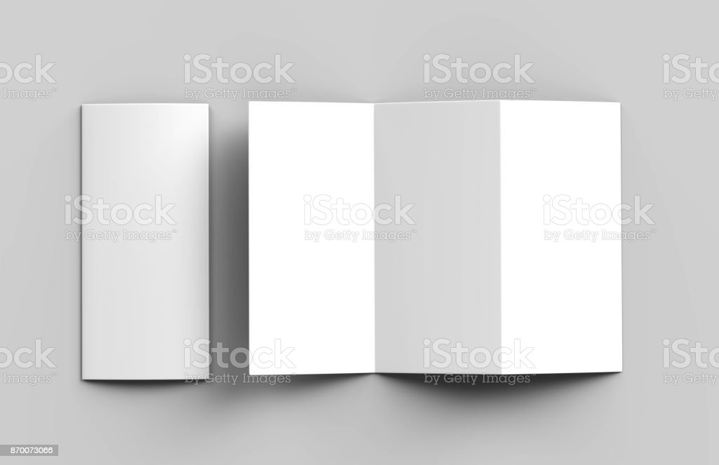 Blank white z fold tri fold brochure for mock up template design. 3d render illustration. stock photo