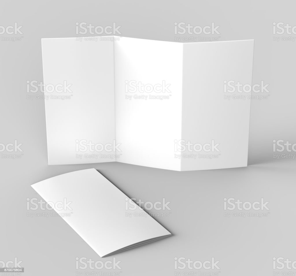Blank White Z Fold Tri Fold Brochure For Mock Up Template Design - Z fold brochure template