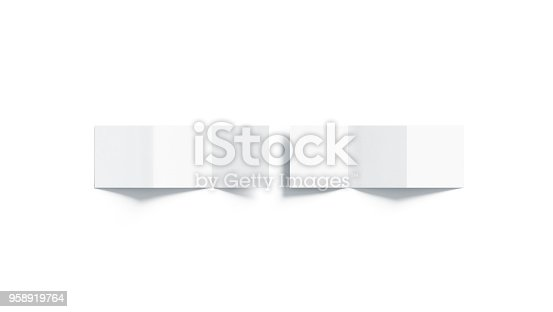 istock Blank white z-folded booklet mock up, top view 958919764