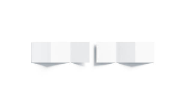 blank white z-folded booklet mock up, top view - accordion stock photos and pictures