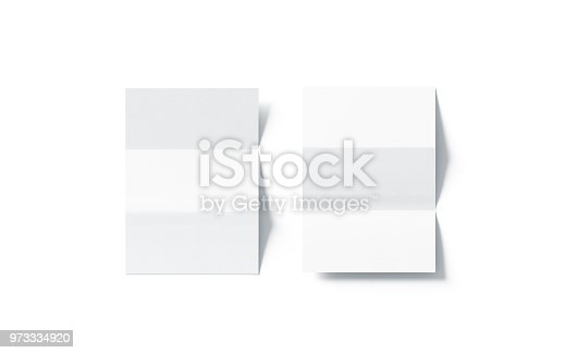 istock Blank white z-folded horizontal booklet mock up, top view 973334920
