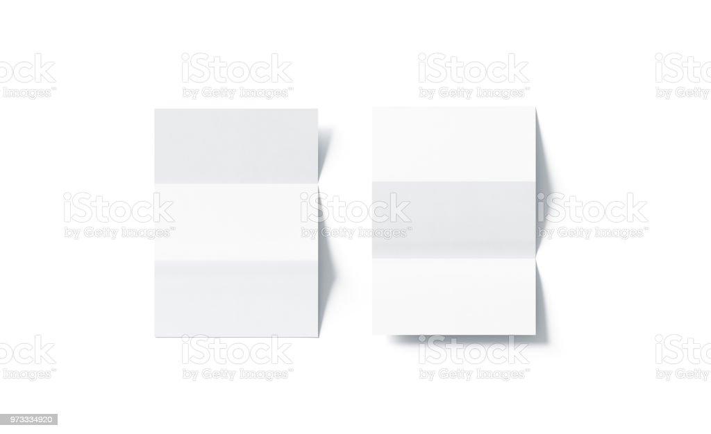 Leere weiße Z-Faltung horizontale Broschüre mock-up, Ansicht von oben – Foto