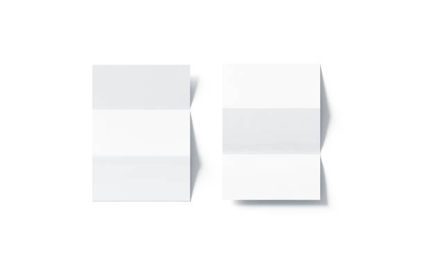 Blank white z-folded horizontal booklet mock up, top view stock photo