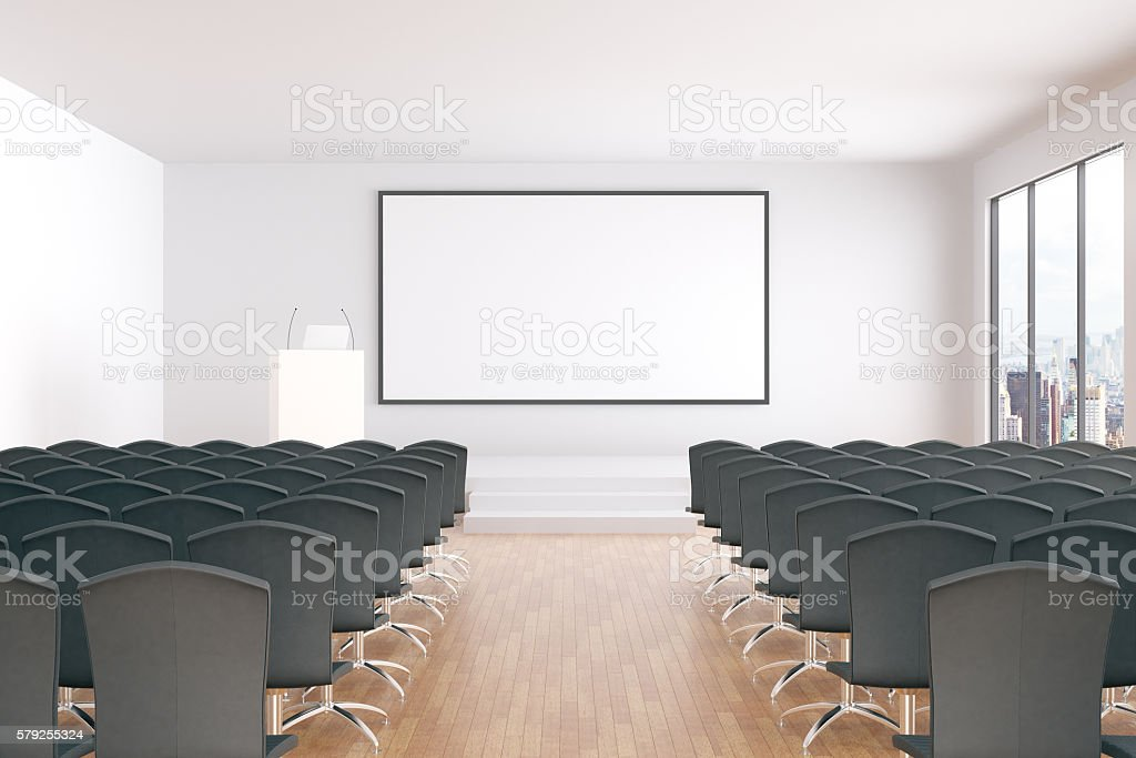 Blank whiteboard in conference room stock photo