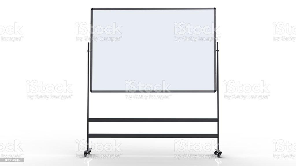 Blank whiteboard on a white background stock photo
