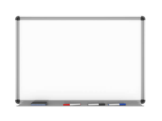 Blank Whiteboard Blank Whiteboard isolated on white background. 3D render flipchart stock pictures, royalty-free photos & images