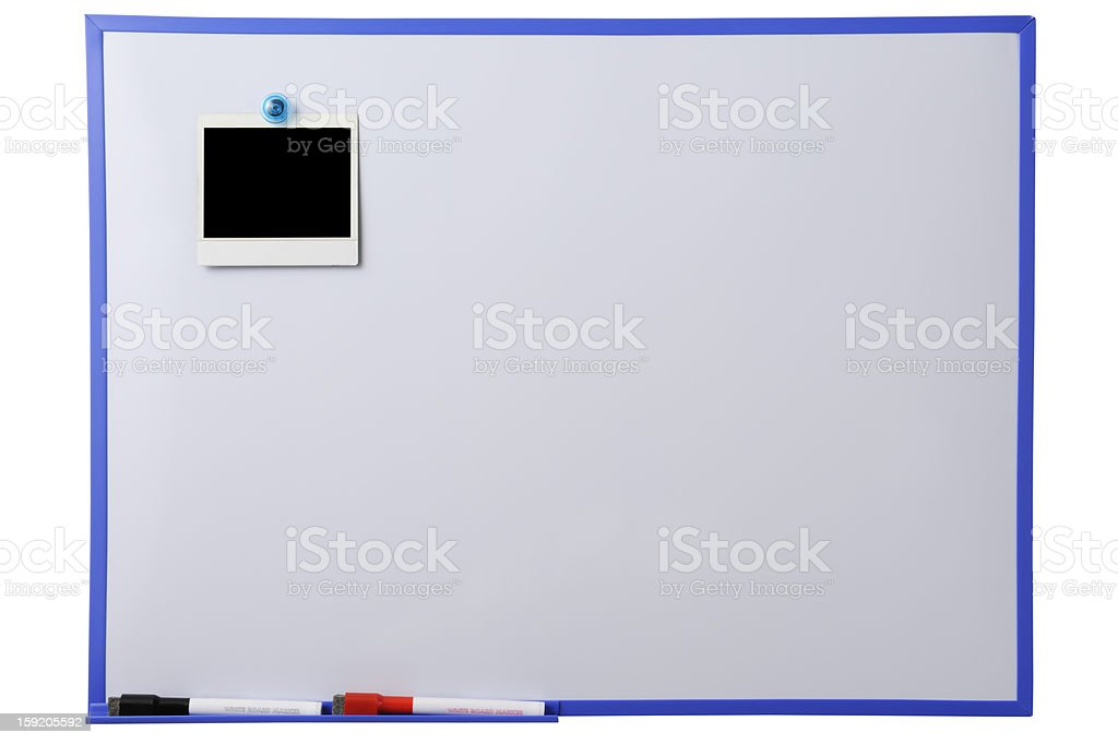 Blank whiteboard with blank Polaroid against white background stock photo