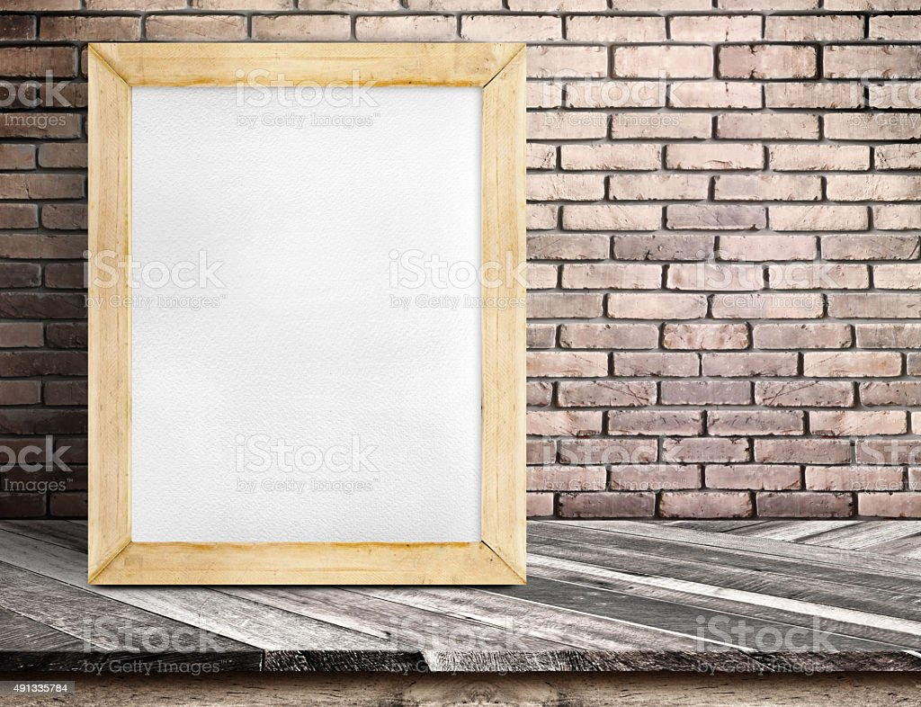 Blank Whiteboard Wood Frame On Diagonal Wooden Table Stock Photo ...