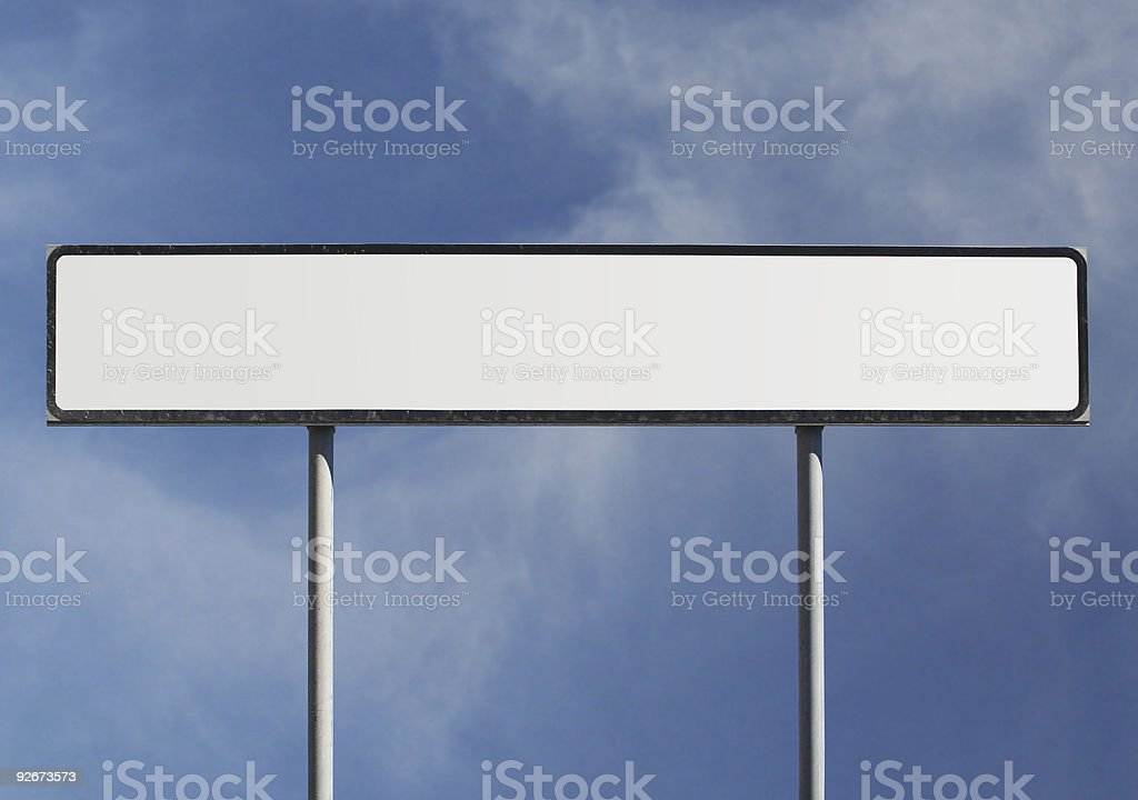 Blank wide road sign stock photo