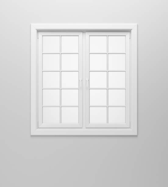blank window on white wall stock photo