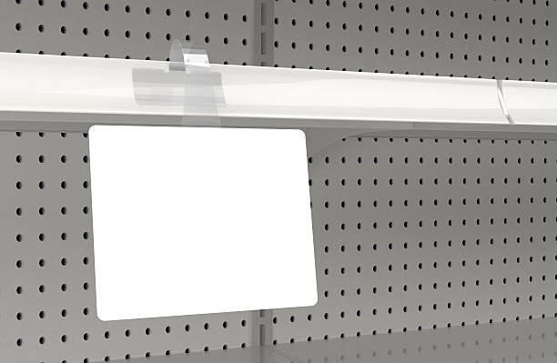 Blank wobbler attached to a retail store shelf Blank shelf sign wobbler on 3D store shelves. Great for mocking up retailer displays and signage. Clean clipping path for sign face. market retail space stock pictures, royalty-free photos & images